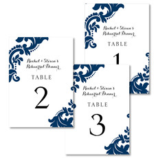 Navy Damask Table Number Cards