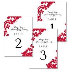 Red Damask Table Number Cards