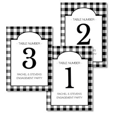 Black Gingham Table Number Cards