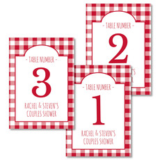 Red Gingham Table Number Cards