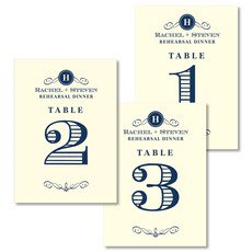 Initial Scroll Table Number Cards