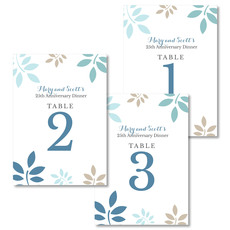 Blue and Tan Botanical Leaves Table Number Cards