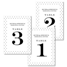 Black Pin Dot Border Table Number Cards