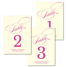 Romantic Script Table Number Cards