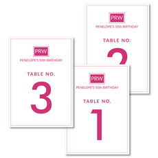 Pink Square Initials Table Number Cards