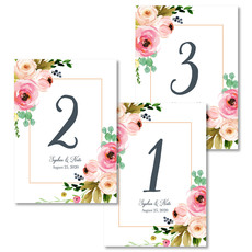 Rose Bunch Table Number Cards