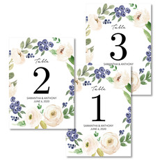 Ivory Roses and Berries Table Number Cards