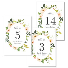 White Frame of Roses Table Number Cards