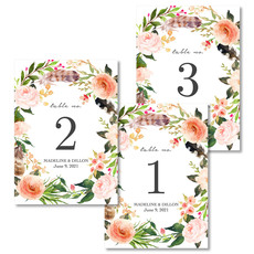 Feathers and Blooms Table Number Cards