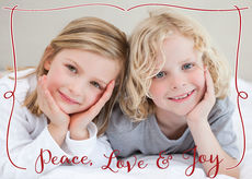 Peace Love & Joy Red Border Holiday Flat Photo Cards