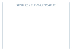 Thin Border Navy On White Flat Note Cards