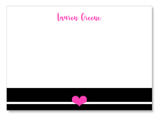 Black Stripe with Pink Heart Flat Note Cards