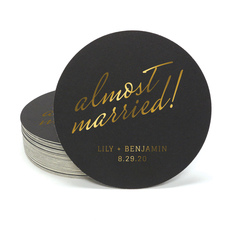 Expressive Script Almost Married Round Coasters