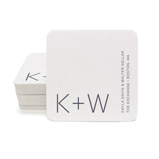 Modern Initials Square Coasters