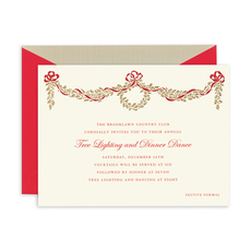 Engraved Golden Holly Bough Invitations