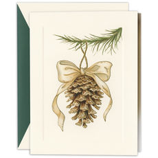 Elegant Pinecone Ornament Holiday Cards