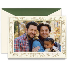 Etched Holly Folded Photo Holiday Cards