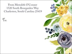 Yellow and Blue Roses Shipping Labels