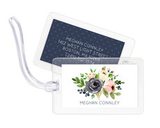Gray and Pink Roses Luggage Tags