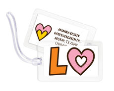Pink and Orange Heart Luggage Tags