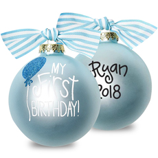 Blue My First Birthday Glass Christmas Ornament