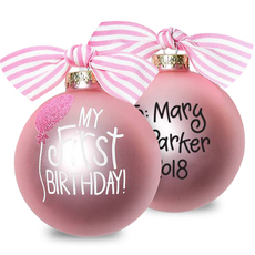 Pink My First Birthday Glass Christmas Ornament