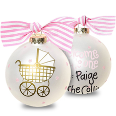 Pink Welcome Baby Glass Christmas Ornament