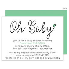 Green Oh Baby Shower Invitations