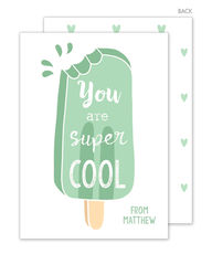 Green Popsicle Valentine Exchange Cards