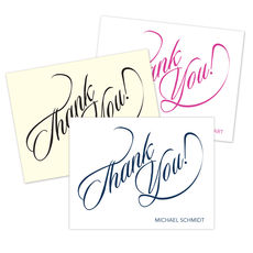 Calligraphy Thank You Folded Note Cards