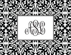 Black Damask Foldover Note Cards