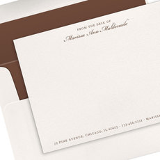 Script Name with Line Above Letterpress Flat Note Cards
