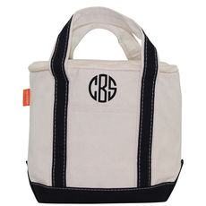 Personalized Black Striped Insulated Lunch Tote