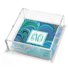 Peacock Italian Marble Petite Lucite Trinket Tray