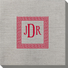 Greek Key Border with Monogram Bamboo Luxe Napkins