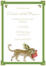 Gold Foil Christmas Leopard Invitations