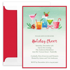 Watercolor Holiday Cocktail Invitations