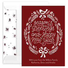 Red Season's Greetings Wreath Flat Holiday Cards