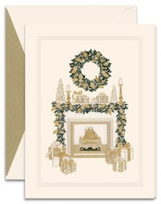 Cozy Christmas Fireplace Mantel Holiday Cards