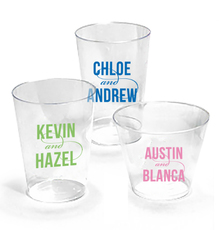 Personalized Bold Swash Modern Couple Clear Plastic Cups