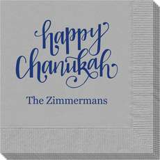 Hand Lettered Happy Chanukah Napkins
