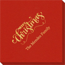 Hand Lettered Merry Christmas Scroll Linen Like Napkins