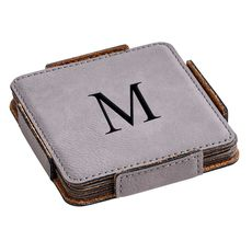 Set of 4 Grey Leatherette Square Coasters