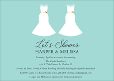 Blue Future Mrs. and Mrs. Couples Shower Invitations