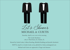 Blue Future Mr. and Mr. Couples Shower Invitations