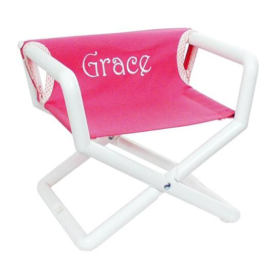 Hot Pink Canvas Junior Director Chair with White Frame