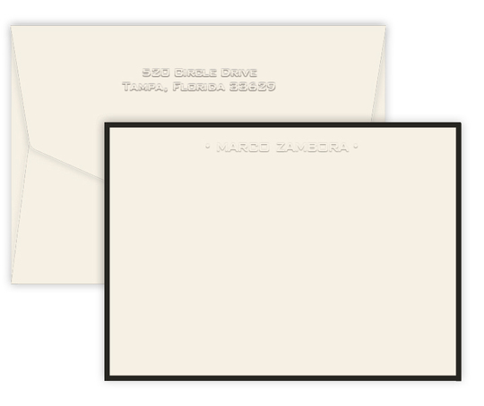 Triple Thick Bordered Embossed One Line Flat Note Cards
