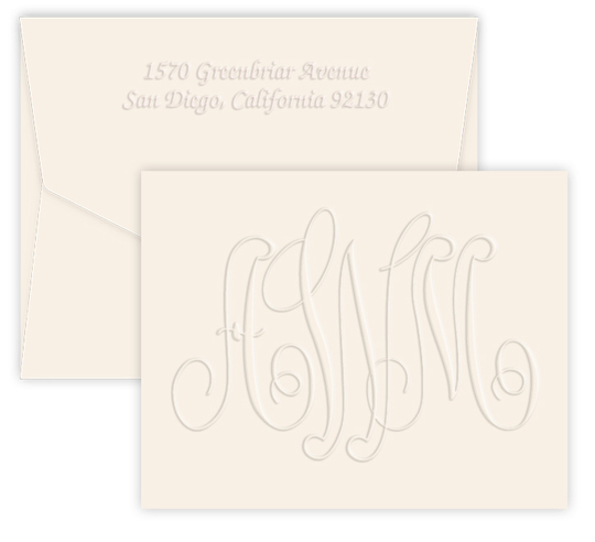 Large Embossed Monogram Folded Note Cards