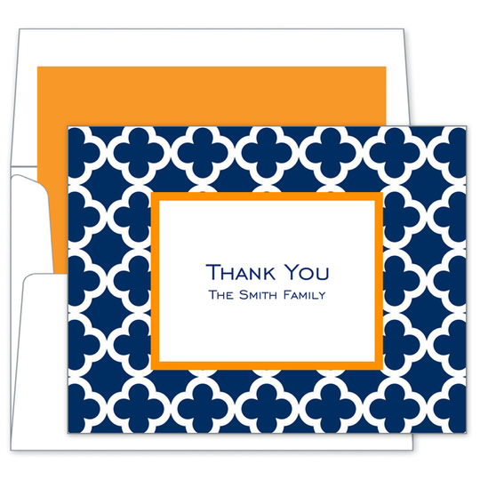 Navy Bristol Tile Folded Note Cards