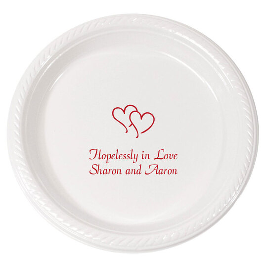 Personalized Modern Double Hearts Plastic Plates